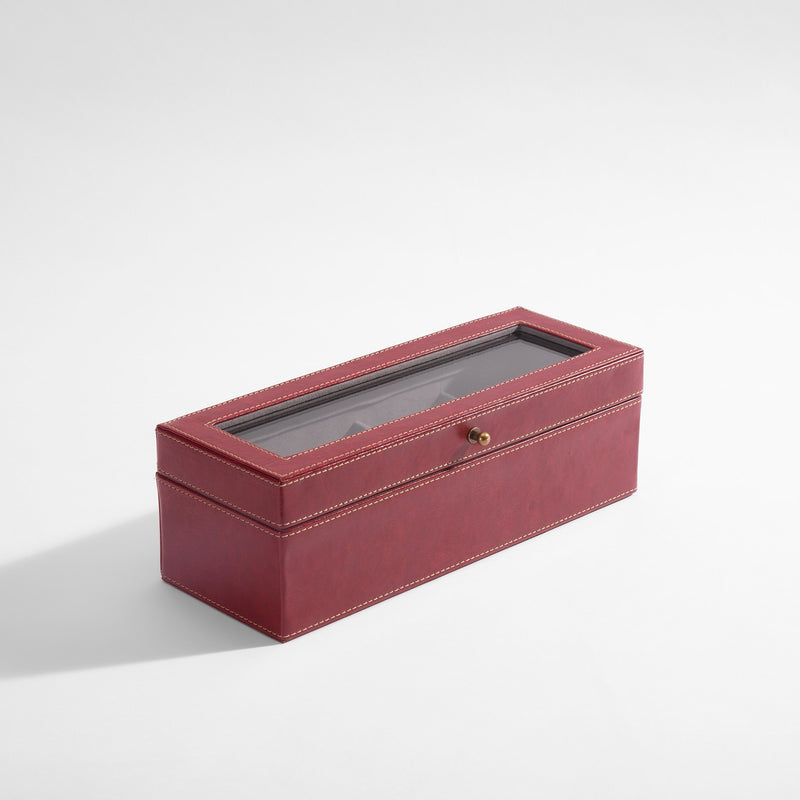 Burgundy Leather Watch Case