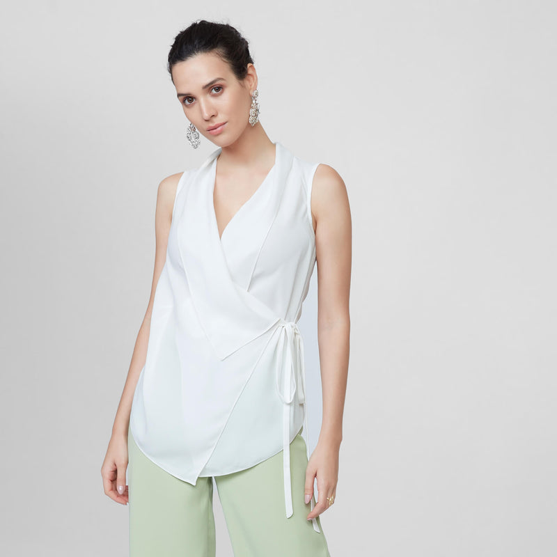 Ivory Sleeveless Wrap Tie Top