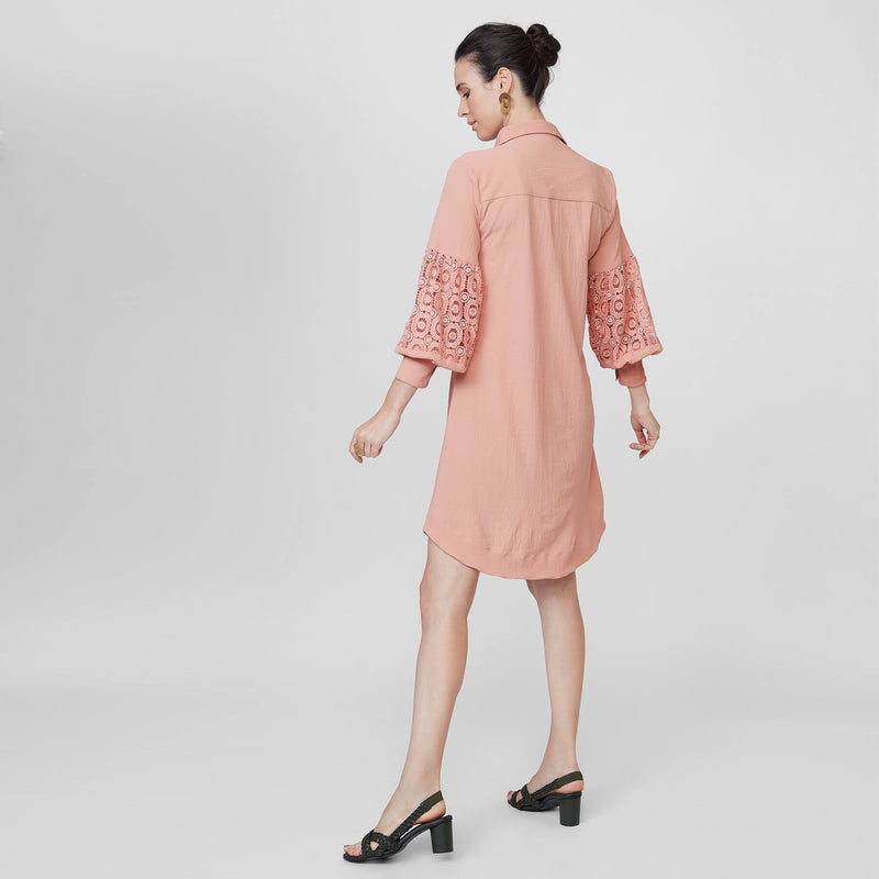Blush Lace Balloon Sleeve Shirt Dress