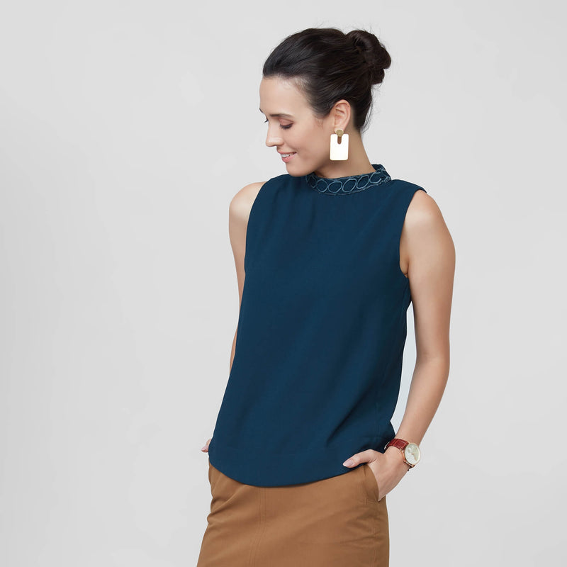 Prussian Blue Lace Panel Top
