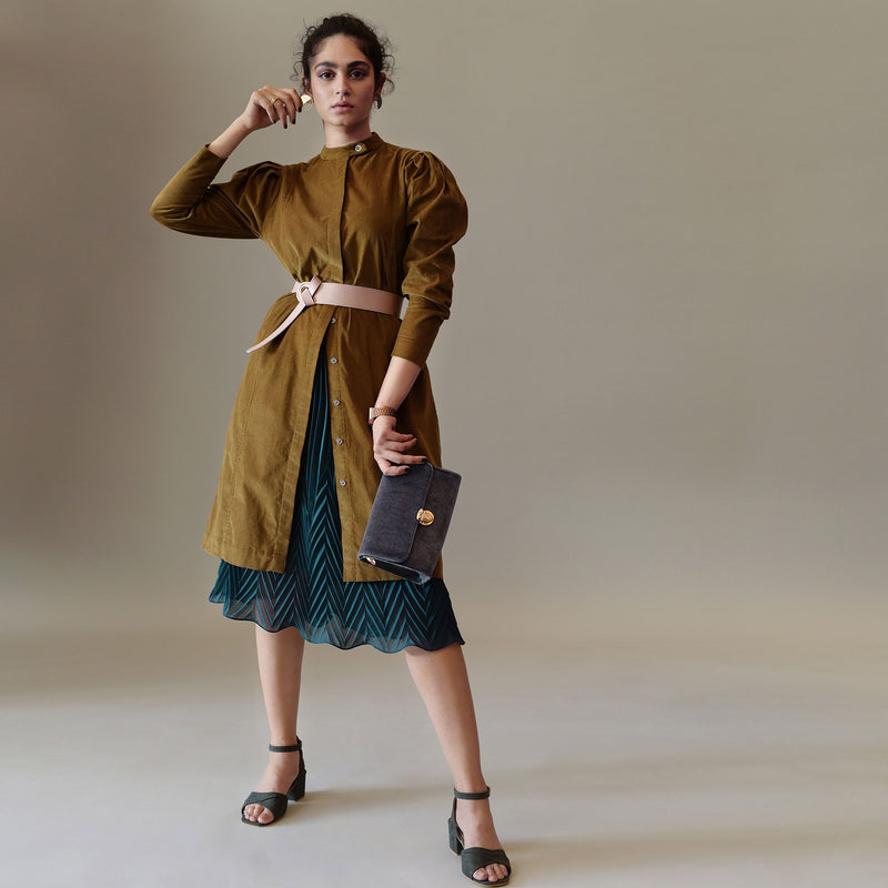 Camel Corduroy Puff Sleeve Shift Dress