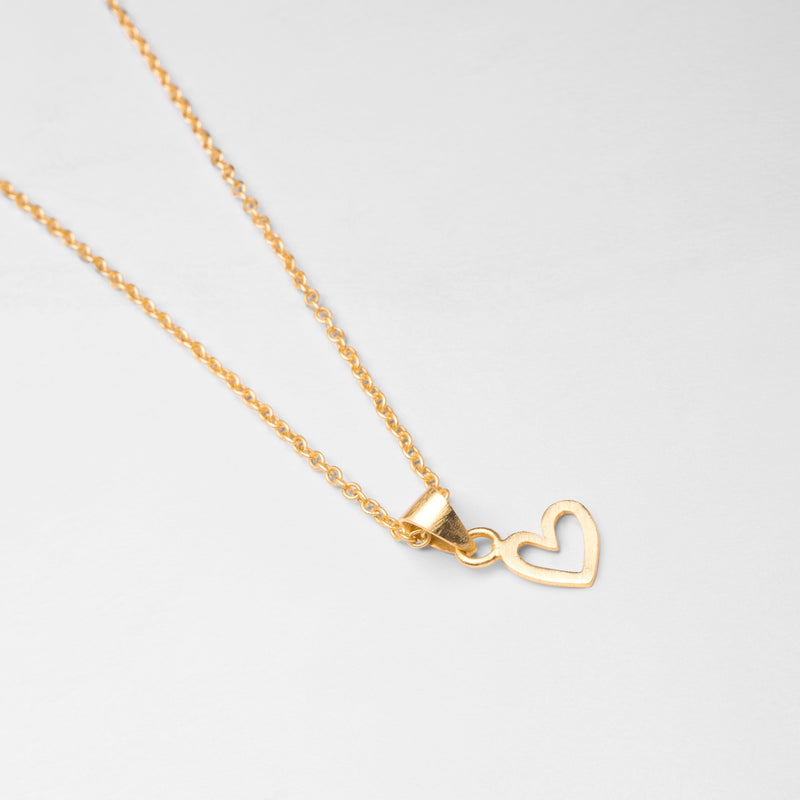 Gold Matte Heart Necklace