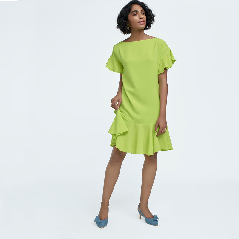 Lime Ruffle Drop Waist Dress