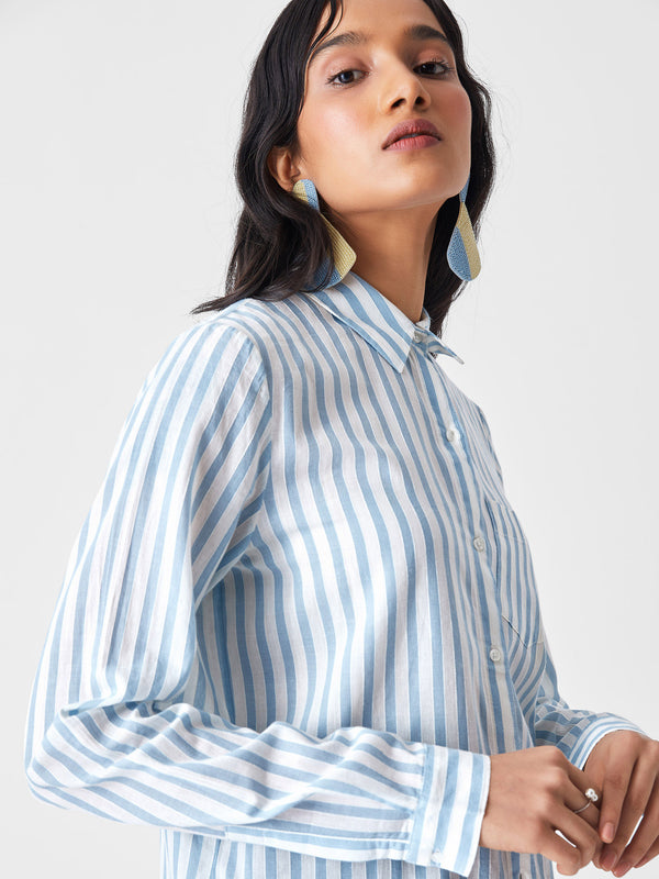 Aqua & White Stripe Shirt