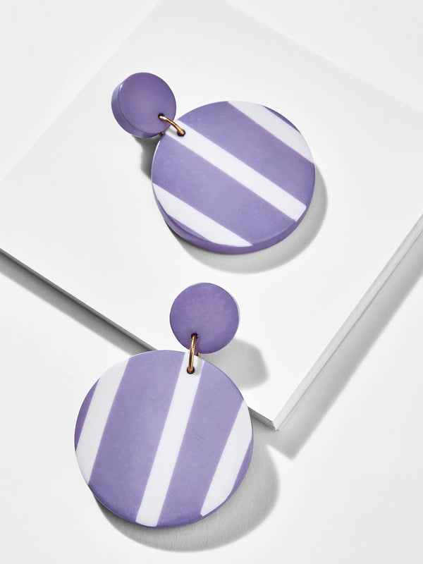Azure Stripe Circle Drop Earrings