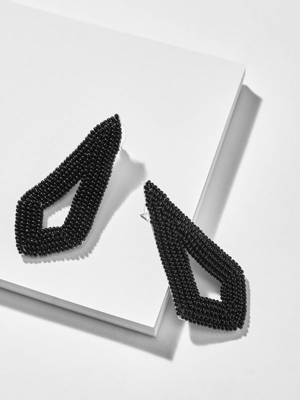 Black Beaded Cut Out Earrings
