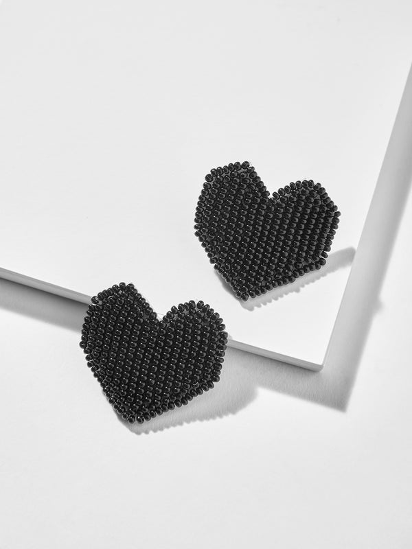 Black Beaded Heart Studs