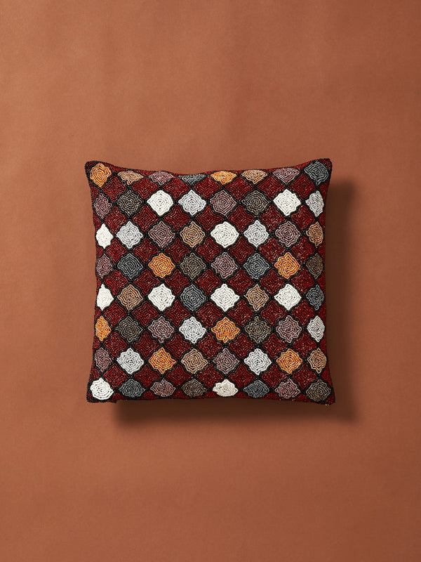 Beaded Geometry Pattern Cushion Cover