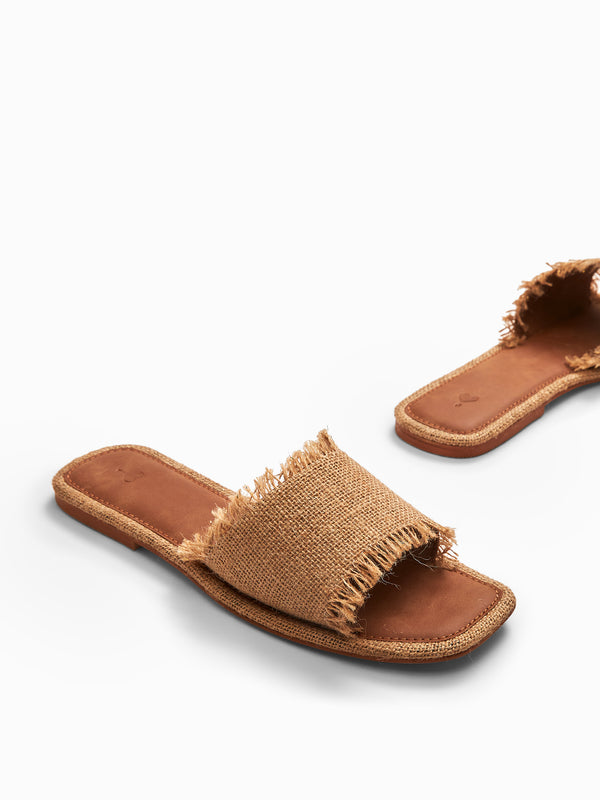 Beige Jute Sliders