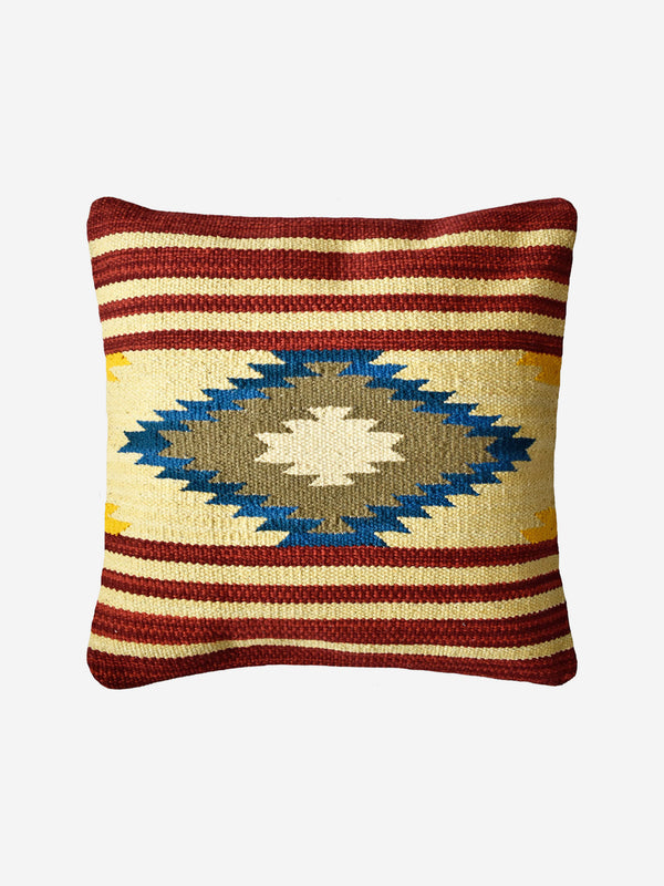 Beige & Wine Kilim Cushion Cover