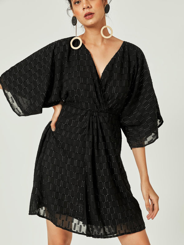Black Dolman Sleeve Knotted Dress
