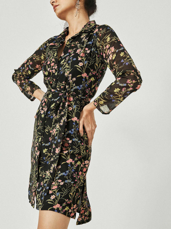 Black Floral Belted Shirt Dress