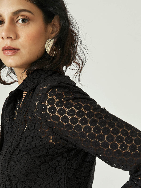 Black Lace Full Sleeve Shirt