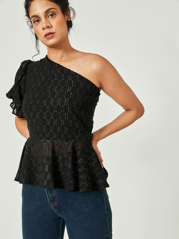 Black One Shoulder Flare Top