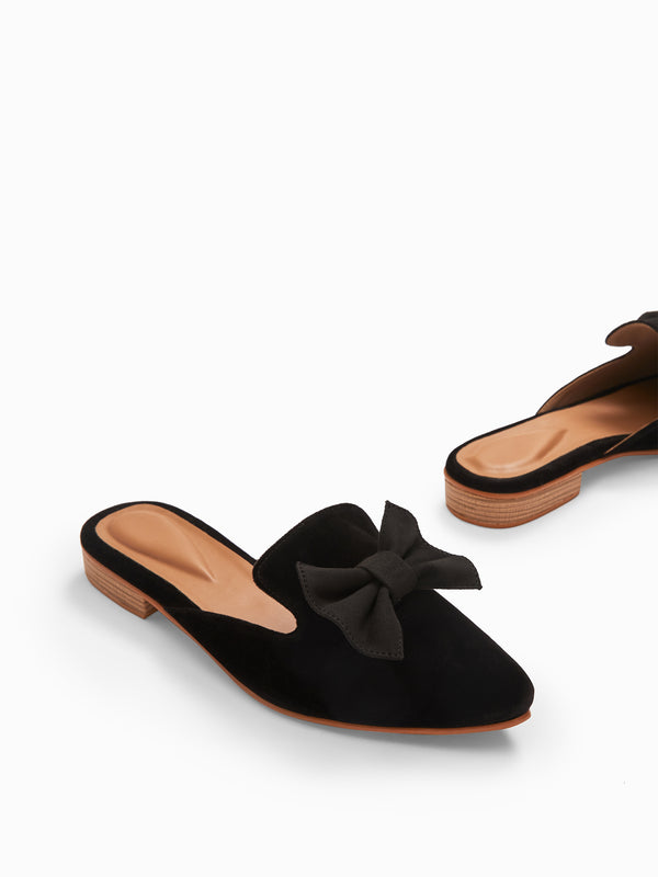 Black Suede Bow Mules