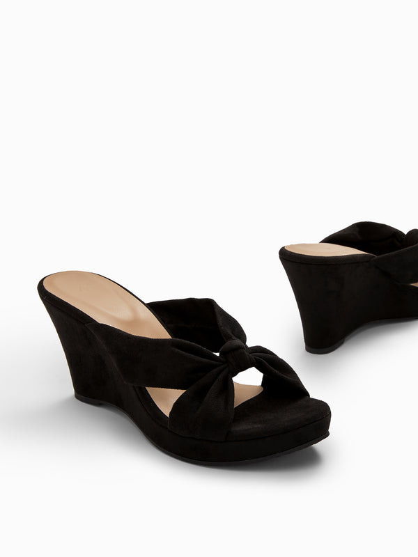 Black Suede Knotted Wedges