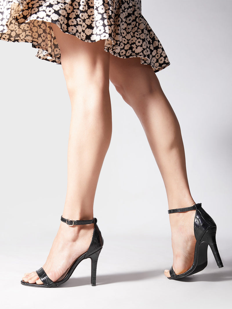 Black Textured Stilettos
