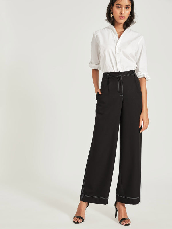 Black Top Stitch Flare Pants