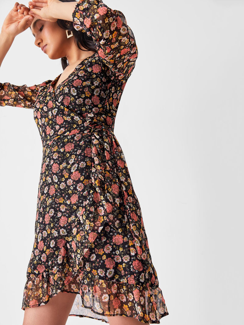 Black & Blush Floral Wrap Dress