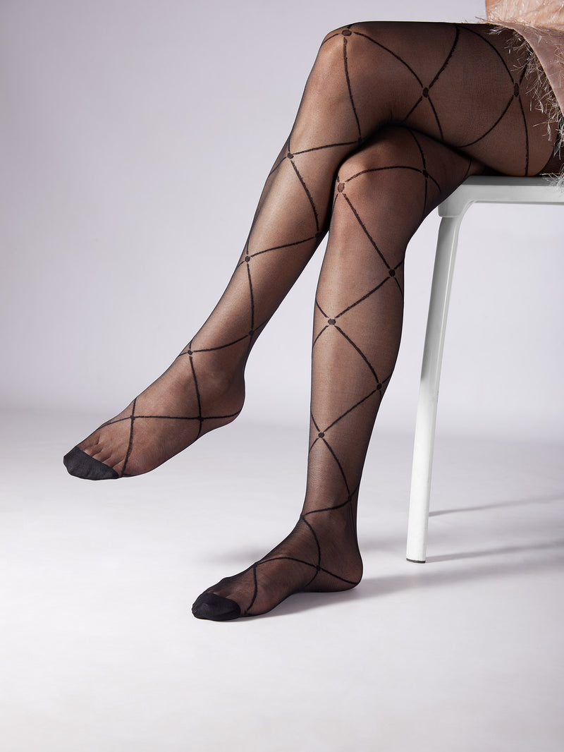 Black Criss Cross Sheer Stockings