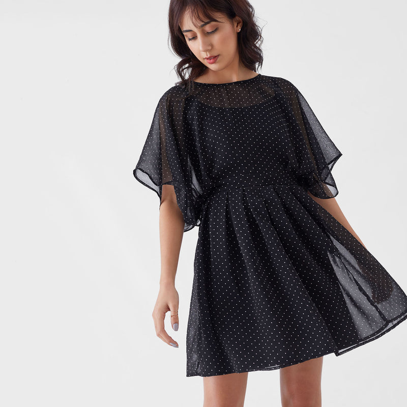 Black Dotted Dolman Sleeve Dress