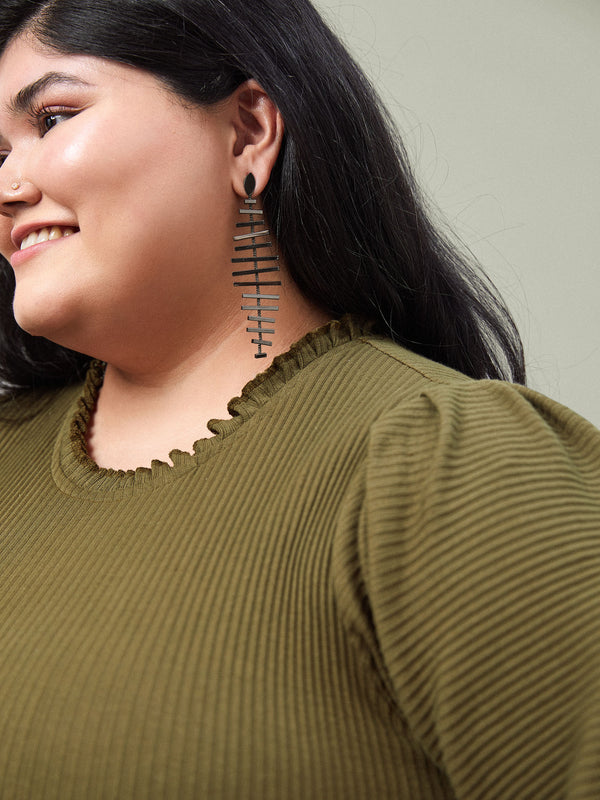 Black Fish Bone Earrings