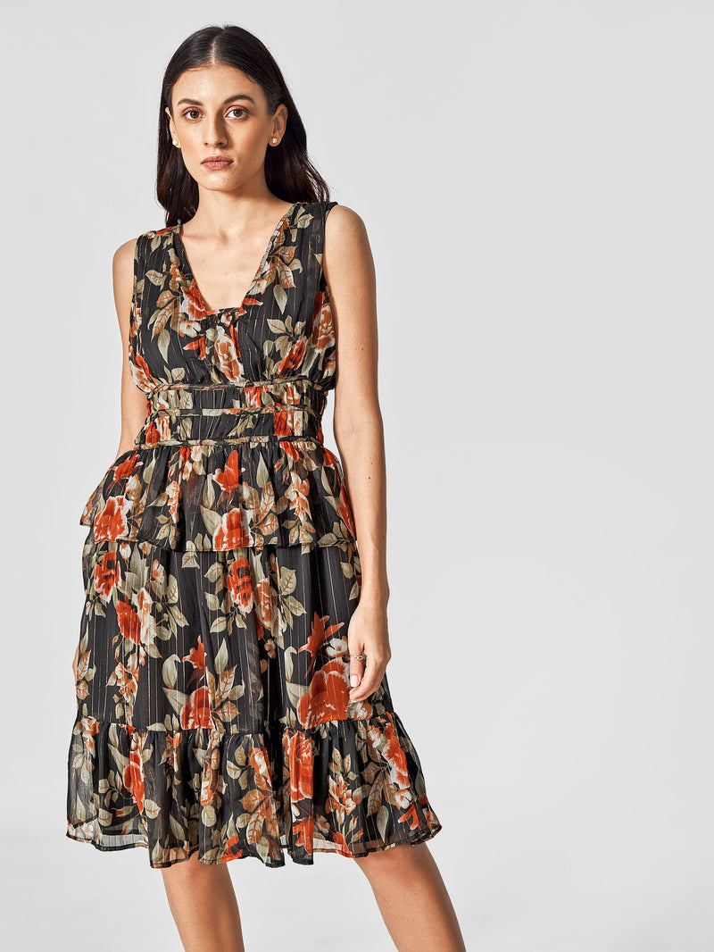 Black Floral Tiered Dress