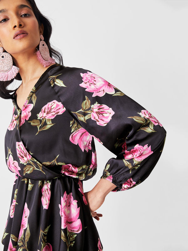 Black & Fuchsia Floral Overlap Dress