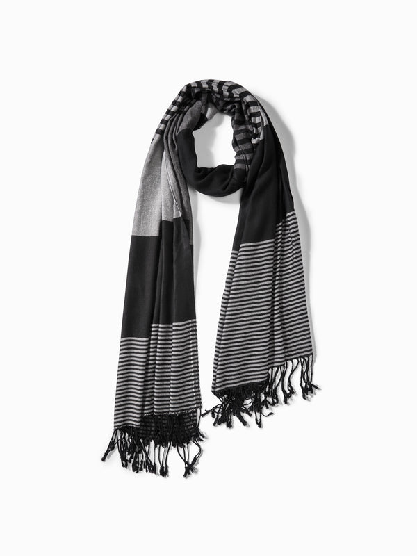 Black & Grey Colour Block Scarf