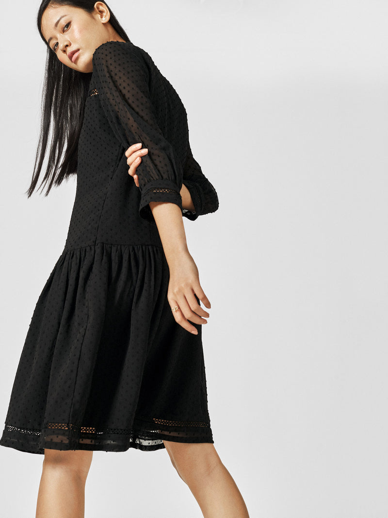 Black Lace Drop Waist Dress