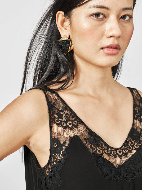 Black Lace Flare Cami