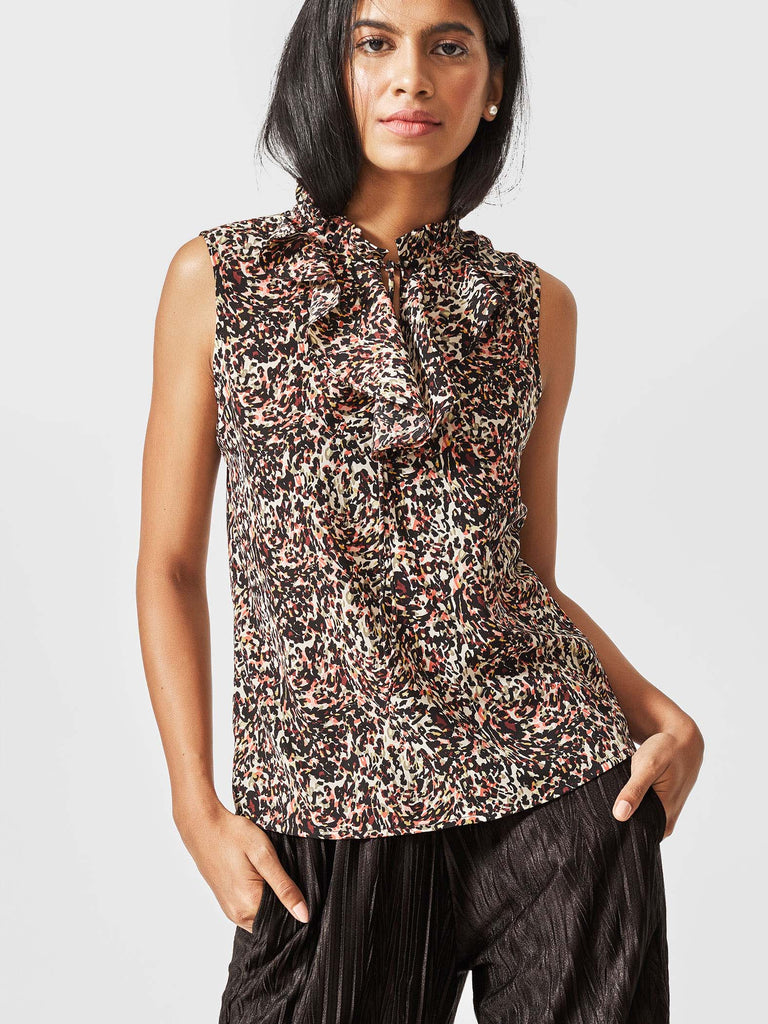 Black Leopard Tie Top