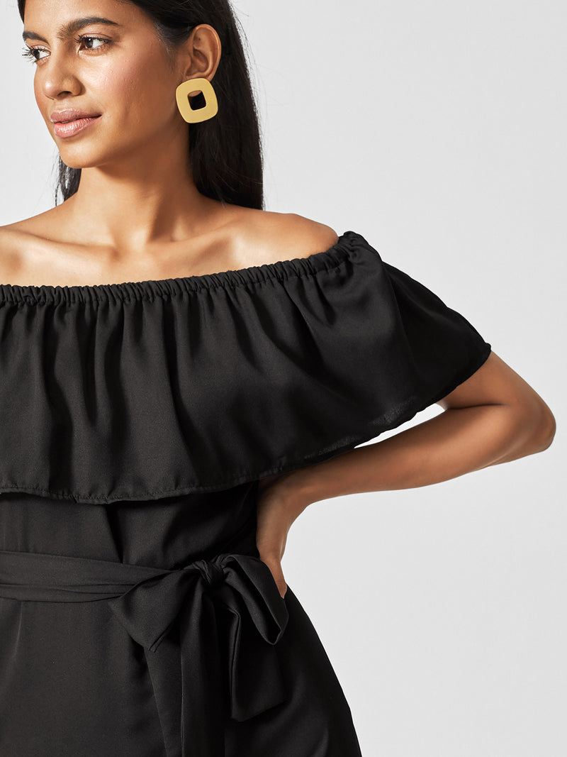 Black Off Shoulder Ruffle Jumpsuit