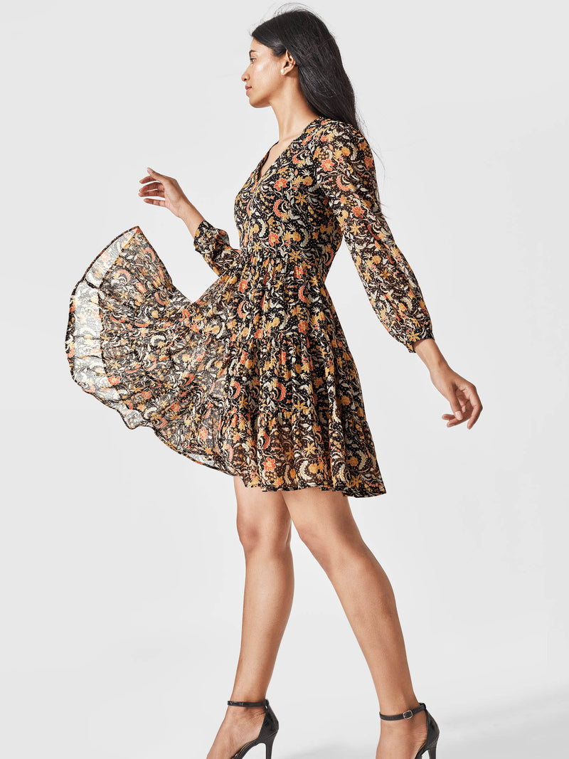 Black Paisley Tiered Dress