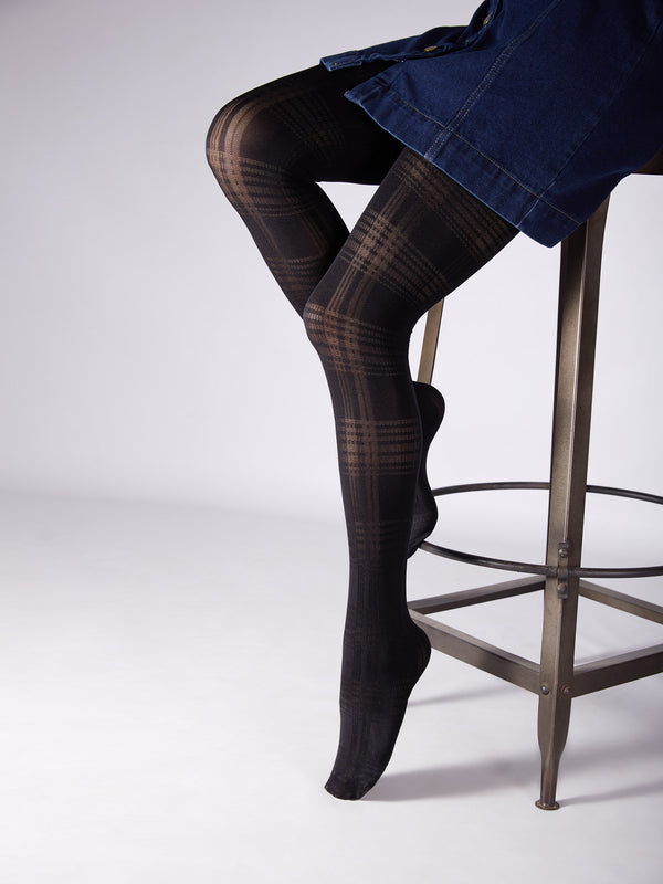 Black Plaid Stockings