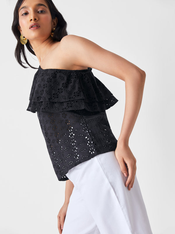 Black Schiffli One Shoulder Overlay Top