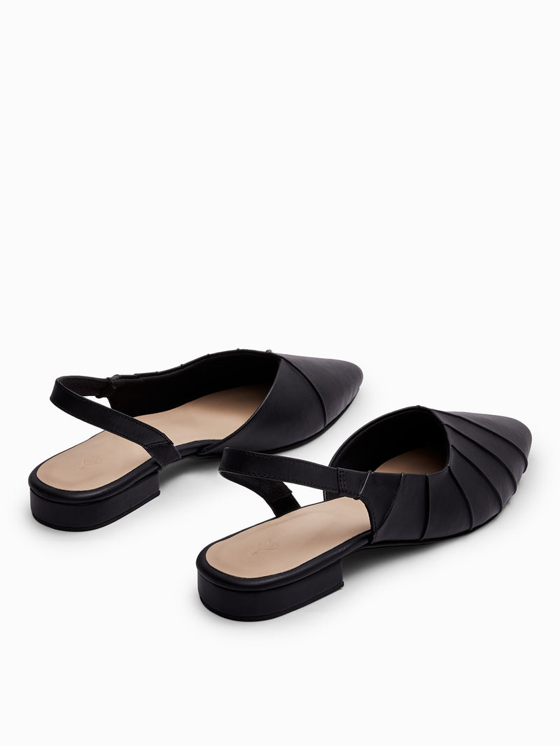 Black Textured Sling Back Flats