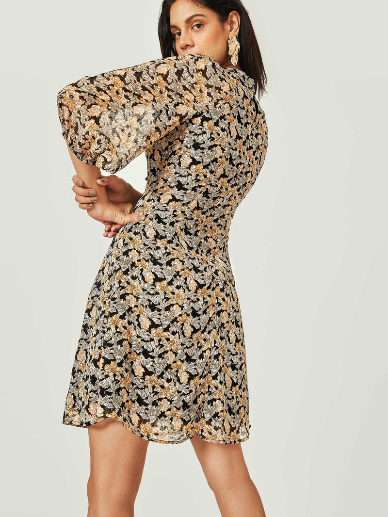 Black & Yellow Floral Tie Dress