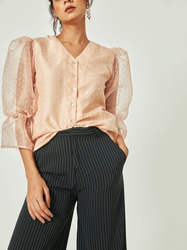 Blush Balloon Sleeve Ruffle Top