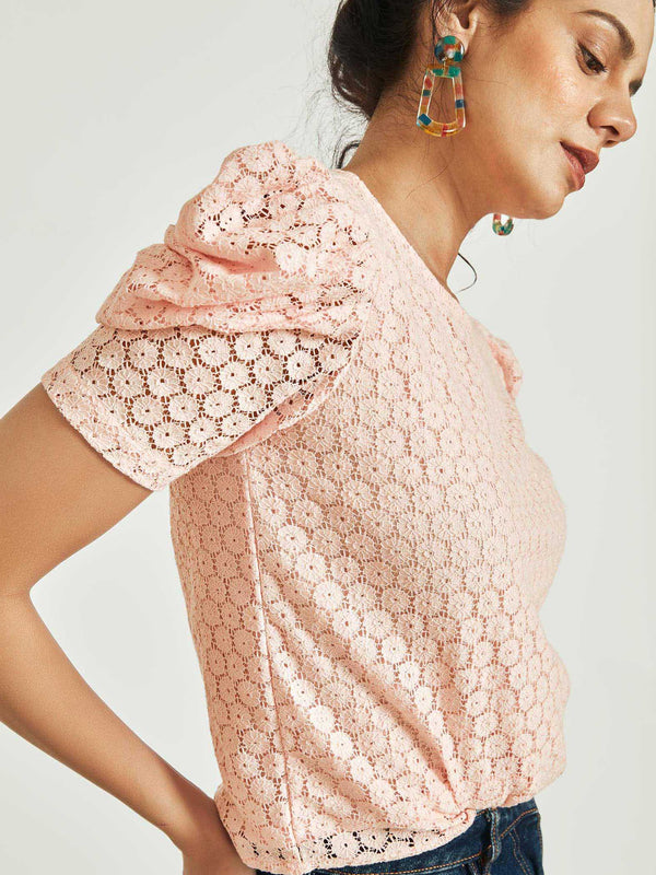 Blush Lace Puff Sleeve Top