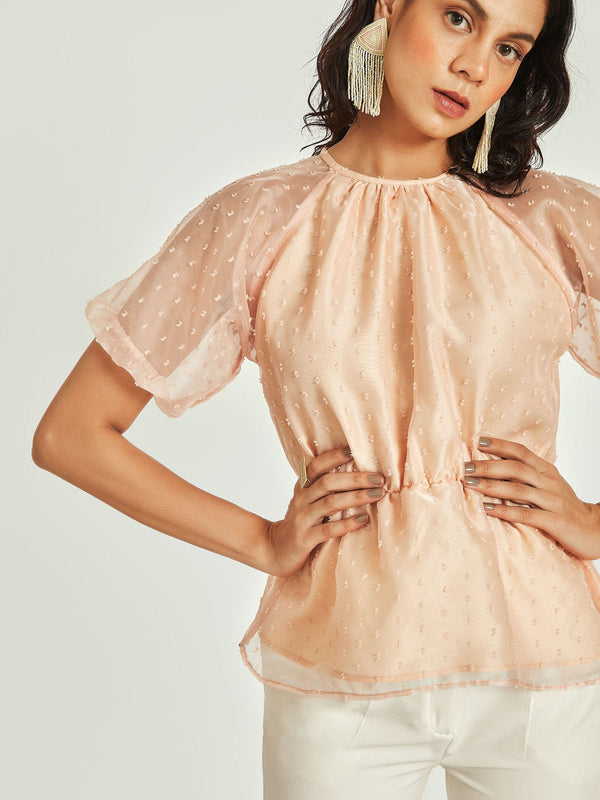 Blush Puff Sleeve Peplum Top