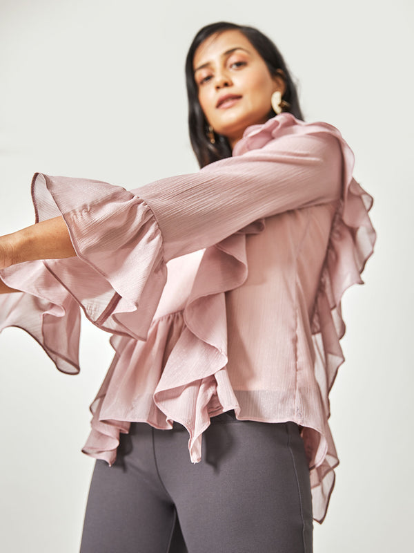 Blush Ruffle Panel Top