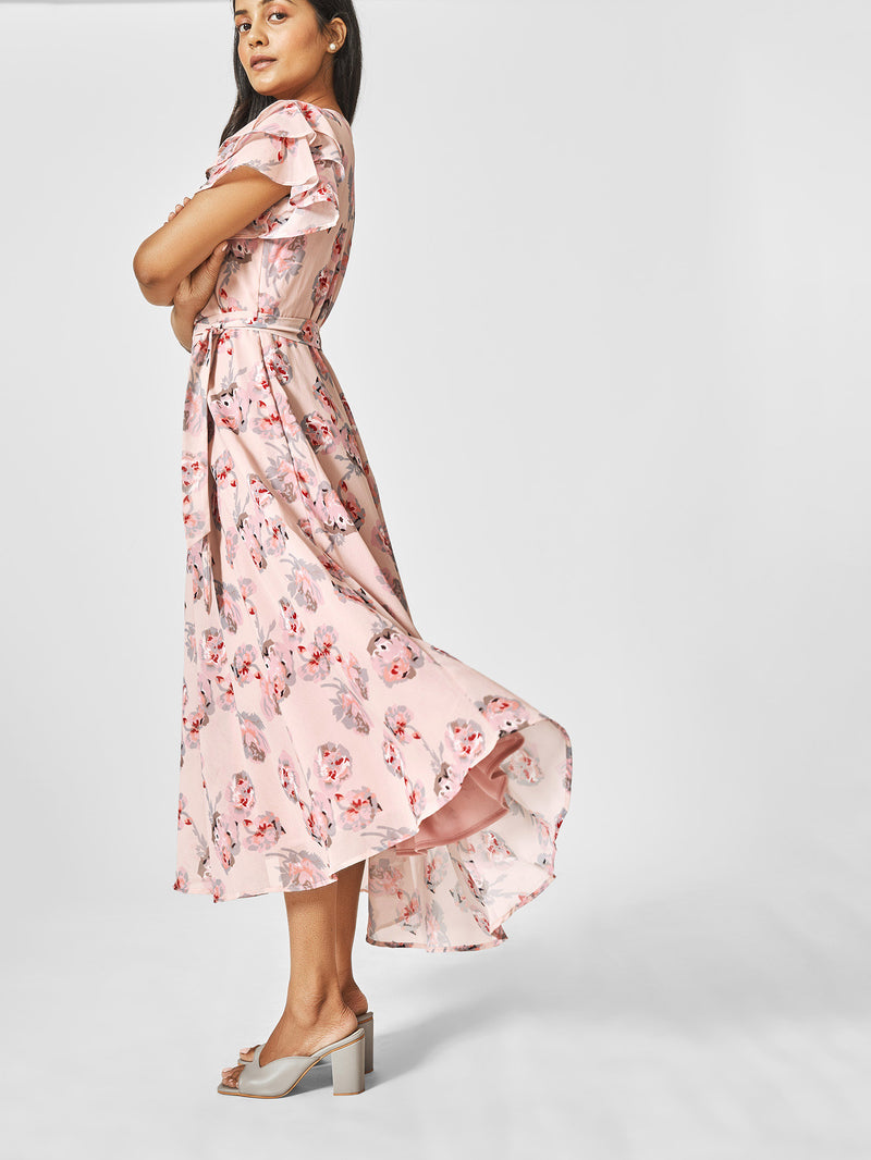 Blush Floral Overlap Midi Dress