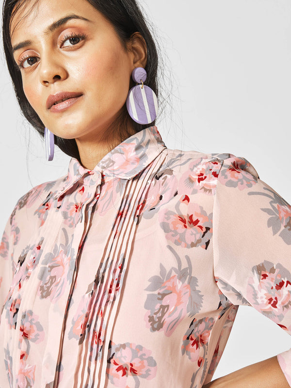 Blush Floral Pleated Shirt