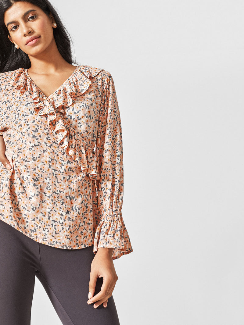Blush Floral Ruffle Wrap Top