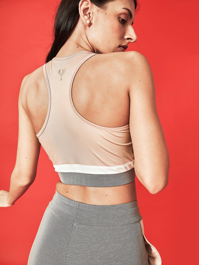 Blush & Grey Sports Bra