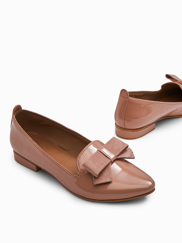 Blush Patent Bow Loafers