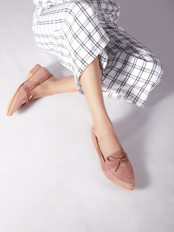 Blush Suede Pointed Loafers