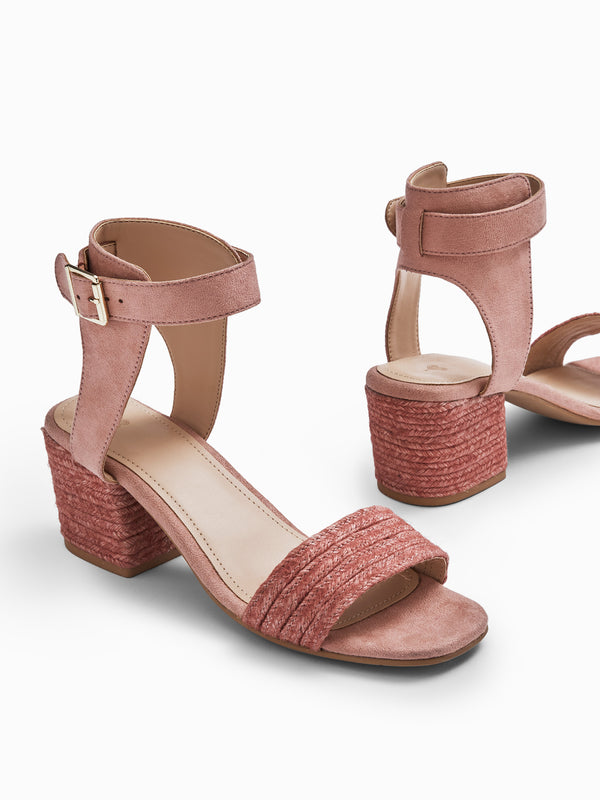 Blush Textured Block Heels