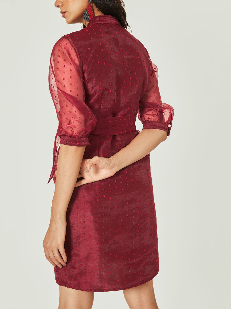 Burgundy Belted Shirt Dress
